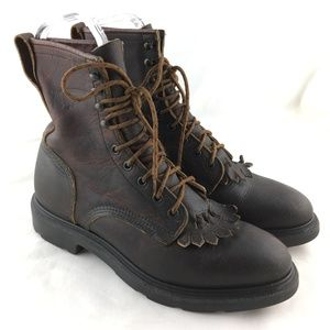 """Lace up boots 8"""" brown leather kiltie 9 eye hook"""